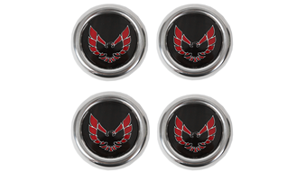 Metal Red Snowflake Center Caps Set of Four