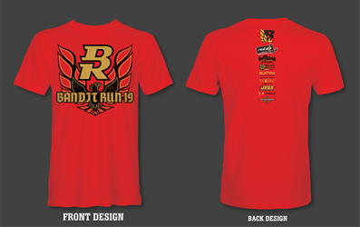 2019 Bandit Run Event T-Shirt Red 2019 Bandit Run , Short Sleeve Shirt , Trans AM, WS6, Firebird