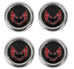 Metal Red Snowflake Center Caps Set of Four  - CP-1510-25