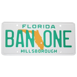 Florida BAN ONE Hillsborough  Plate